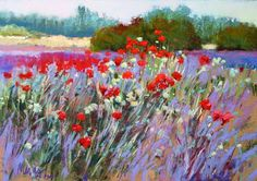 Wild flower pastel painting.