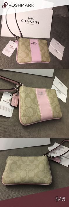 Authentic Coach Pink Trim Wristlet Brand new, with the tags. 100% authentic coach Wristlet. Comes with a coach gift box as well as the care instructions. It's an adorable baby pink trimmed Wristlet that would make the perfect gift, For yourself or someone else! :) Coach Bags Clutches & Wristlets