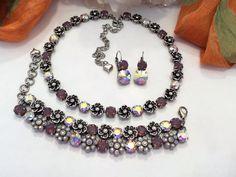 HE LOVES ME collection, swarovski necklace, bracelet, earrings, purple, opal, aroura borealis, flower necklace,choker,dksjewelrydesigns