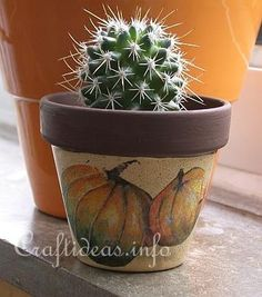 Decoupage napkins on clay pots.  They say it is so easy a school aged child can do it!