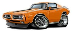 1971-72 Dodge Charger Muscle Car Cartoon Tshirt FREE