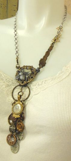 Time Flies Long Chatelaine Drops Necklace