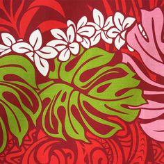 different color way Hawaiian fabric red Monstera & plumeria Pau skirt fabric Hula fs04gm
