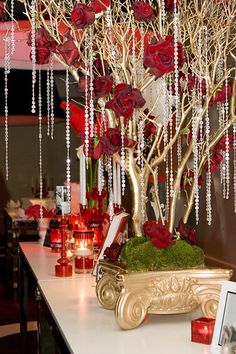 Party Theme - Hollywood Glam | Complete details at: www.host… | Flickr Manzanita Centerpiece, Red Rose Centerpieces, Manzanita Branches, Branch Centerpieces, Centerpiece Ideas, Christmas Table Centerpieces, Manzanita Wedding, Bling Centerpiece, Wedding Centerpieces
