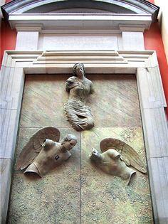 "Igor Mitoraj, door to the Matka Boska Łaskawa Church, Warszawa, Poland.   Better known as ""Ängels door"""