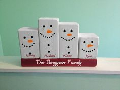 Snowman family wood block set .. add longer base to hold all kids . add colored sock ? for hats tie with yarn, more personalized