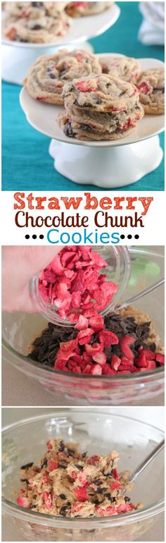 Strawberry Chocolate Chunk Cookies uses freeze dried strawberries!  These are awesome! #cookies #recipe #strawberry
