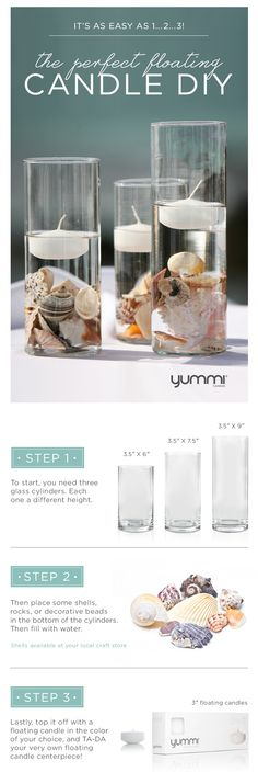 DIY Floating Candle Centerpiece ! Get This Look For Under $25! Shop Now at www.YummiCandles.com