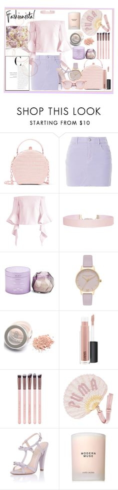 """""""pink and lilac"""" by junethesev7n ❤ liked on Polyvore featuring Nancy Gonzalez, Topshop, Chicwish, Humble Chic, D.L. & Co., Olivia Burton, MAC Cosmetics, Puma, Paper Dolls and Estée Lauder"""