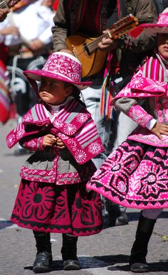 "Pink "" polleras""...Cuzco Days parade, Peru"