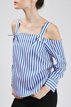 Sewing inspo: Striped Off-The-Shoulder Shirt By Boutique