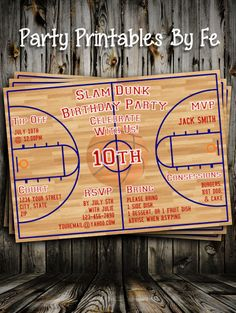 Birthday Party Invitation - Slam Dunk Basketball Court Birthday - Light Wood