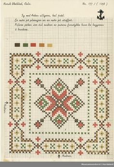 Trykt mønsterark i til brodert tekstil. Biscornu Cross Stitch, Cross Stitch Cards, Cross Stitch Alphabet, Cross Stitching, Cross Stitch Embroidery, Embroidery Patterns, Cross Stitch Designs, Cross Stitch Patterns, Cross Stitch Geometric