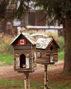 "Bird""lodges"" from twigs"