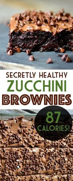 Have you ever wished you could have a huge, rich gooey brownie for under 100 cal. Have you ever wished you could have a huge, rich gooey brownie for under 100 calories? Well now you can with these zucchini brownies! Healthy Desayunos, Healthy Sweets, Healthy Dessert Recipes, Healthy Baking, Vegan Desserts, Healthy Snacks, 100 Calorie Desserts, 100 Calorie Meals, Low Calorie Snacks Sweet