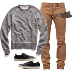 nice sneakers, tan pants, replace sweater with t-shirt & jacket (cardigan?)