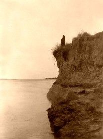 Mandan indian atop the bluffs of the missouri river
