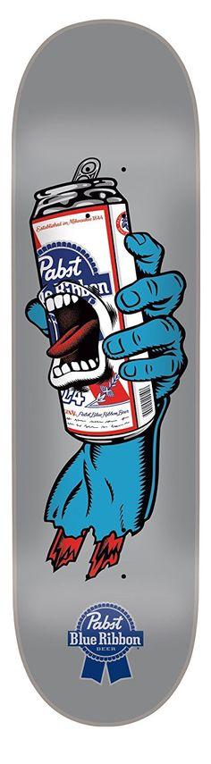 Santa Cruz Skateboard Deck - Screaming hand with Pabst Blue Ribbon Beer Skateboard Deck Art, Skateboard Design, Skate And Destroy, Pabst Blue Ribbon, Skate Art, Skate Decks, Skate Style, Illustration, Longboarding