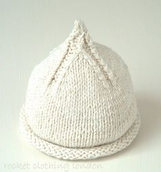 Baby Knitting Patterns Neutral Rocket Clothing London by Linda Whaley. This classic pixie beanie hat is perfect. Baby Hats Knitting, Baby Knitting Patterns, Baby Patterns, Free Knitting, Knitted Hats, Knitting For Charity, Knit Crochet, Crochet Hats, Baby Beanie Hats