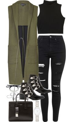 Outfit for spring with a long vest by ferned featuring a spring outfit Crop top, 19 AUD / Topshop green jacket, 87 AUD / Topshop high-waisted jeans, 87 AUD / Toga black ankle boots, 700 AUD / Yves Saint Laurent handbag, 2 865 AUD / Fallon leather...