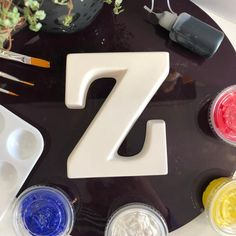 Paint your own Alphabet letter kit. Letter 'Z' Mariano Diaz, Bright Colors, Colours, Painted Letters, Black Acrylics, Smudging, Red And White, Alphabet, Handmade Items