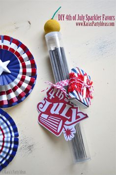4th of July sparkler favors with FREE PRINTABLE 4TH OF JULY TAGS! so cute! use inexpensive gumball tubes from Kara's Shop! perfect for bbq's & more! Via Kara's Party Ideas www.karaspartyideas.com