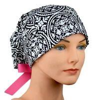 Scrub Hats // Scrub Caps // Scrub Hats for Women // The Hat Cottage // Large // Ribbon Ties // Ironwork Pink Cheetah, Cotton Quilting Fabric, Scrub Caps, Hats For Women, Scrubs, Blue Denim, Trending Outfits, Stylish, Mini