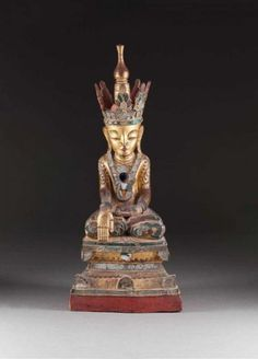 GROSSER BUDDHA - - Burma, 19. Jh. - - Holz, geschnitzt, farbig[...]