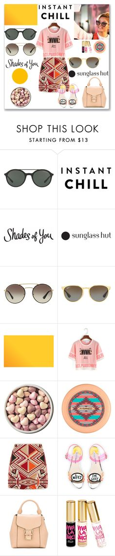 """""""Shades of You with Sunglass Hut"""" by ludmyla-stoyan ❤ liked on Polyvore featuring Giorgio Armani, Prada, Ray-Ban, MAC Cosmetics, Topshop, Sophia Webster, Burberry, Juicy Couture, sunglass and sunglasshut"""