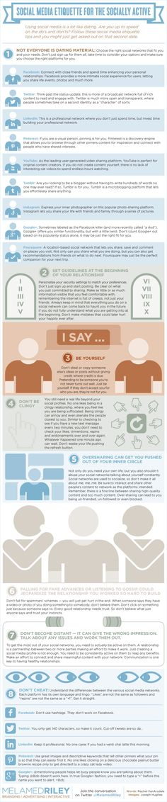 Infographic: Social Media Etiquette For The Socially Active Social Media Etiquette, Social Media Tips, Social Networks, Social Media Marketing, Social Status, Content Marketing, Marketing Trends, Media Campaign, Public Relations