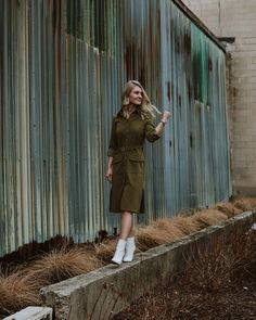An easy work wear combo! This olive green dress is super comfy and these white booties are a hit.