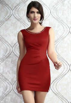 Solid Red Bodycon Dress