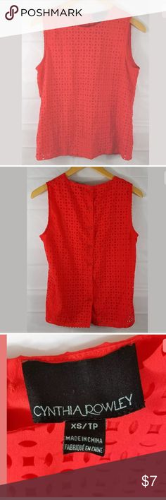 Cynthia Rowley women's sleeveless shirt size XS Cynthia Rowley women's sleeveless shirt size XS cutout design lined buttons in the back  great condition, no holes or stains  armpit to armpit: 18 inches length: 22 inches    b366 Cynthia Rowley Tops Tank Tops