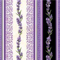 Streifen schwarzer Stoff Ornament Muster Lavendelblume von Northcott Porcelain
