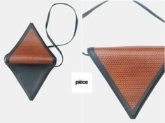 Triangle+woven+leather+bag+ROBERTO+VASCON+1980s+by+pieceshop,+$68.00