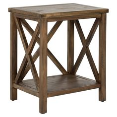Poplar end table with a lower shelf and crossed back.  Product: End tableConstruction Material: Poplar wood...