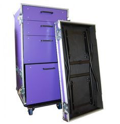 Four Drawer Flight Case Toolbox. #toolbox #flightcase This stylish four draw tool box is designed to accommodate an array of universal tools or backstage equipment. This appealing flight case toolbox is constructed using strong 9mm birch plywood which is bonded together with a lavish purple laminate.