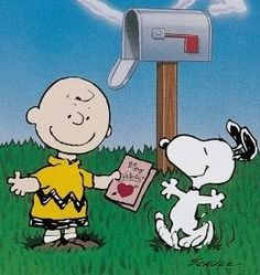 Charlie Brown is so excited to finally receive a Valentine's Day card!