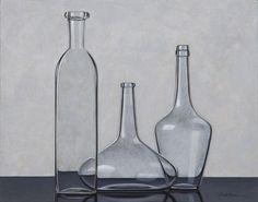 HENK BOON Beeldend kunstenaar : Compositie 3 transparante flessen, Olieverf/paneel, 33 X 42 cm