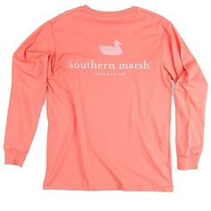 Southern Marsh Authentic Long Sleeve T-shirt ($36) ❤ liked on Polyvore featuring tops, t-shirts, shirts, extra long sleeve shirts, longsleeve tee, red long sleeve t shirt, long-sleeve shirt and red long sleeve shirt