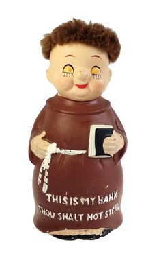 Still Coin Bank Hand Painted Ceramic Monk Thou Shalt Not Steal Vintage Penny Bank, Pennies From Heaven, Float Your Boat, Money Box, Paint Chips, Hand Painted Ceramics, Ceramic Painting, Be Still, Coins