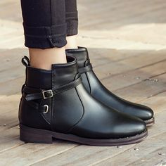 British Style Round Toe Thick Heel Ankle Martin Booties