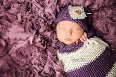 Purple Cream Newborn Knit Swaddle Sack