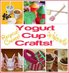 Yogurt Cup Crafts Fun Crafts For Kids, Craft Activities For Kids, Crafts To Do, Toddler Activities, Craft Ideas, Cup Crafts, Baby Crafts, Cool Art Projects, Projects For Kids