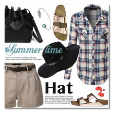 """""""le3no.com"""" by svijetlana ❤ liked on Polyvore featuring LE3NO, Birkenstock, polyvoreeditorial, summerhat and le3no"""