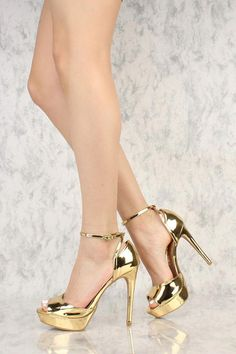 413c20304c6 Gold Metallic Criss Cross Peep Toe Platform Pump High Heels Patent Faux  Leather  Hothighheels