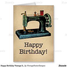 Máquina de coser del vintage del feliz cumpleaños tarjeta de felicitación