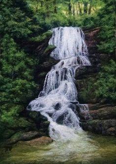 Little Bradley Falls Felt Painting by Tracey McCracken Palmer featured on www.livingfelt.com/blog