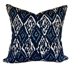 Duralee Indigo Ikat Decorative Pillow Cover - Throw Pillow - Accent Pillow - Solid Indigo Back - White Throw Pillows, Ikat Pillows, Modern Throw Pillows, Toss Pillows, Accent Pillows, Ikat Pattern, Pattern Design, Well Thought Out, Decorative Pillow Covers
