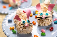 Preparation Time: 20 Mins.   Total Time to Serve: 40 Mins.   Servings: 8   INGREDIENTS  3 tablespoons butter or margarine   1 package (10 oz., about 40) regular marshmallows   OR   4 cups miniature marshmallows   6 cups Kellogg's® Rice Krispies® cereal   Canned frosting or decorating gel   Pink construction paper cut into bunny ears   Assorted candies